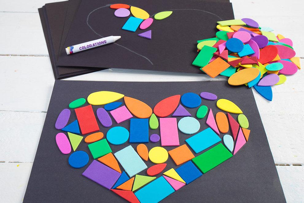 Colorful Foam Shape Heart Collage
