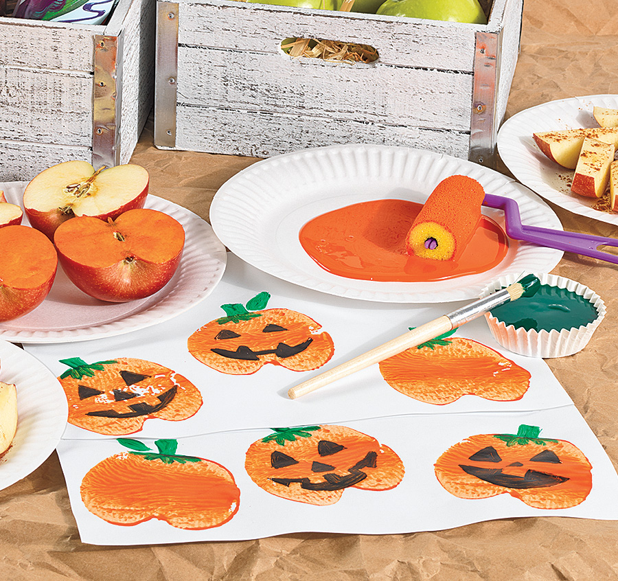 Apple Print Pumpkins