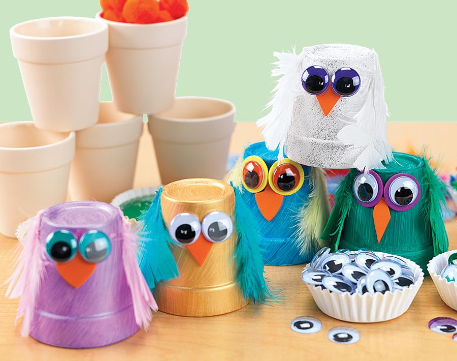 Fall Owl Pots