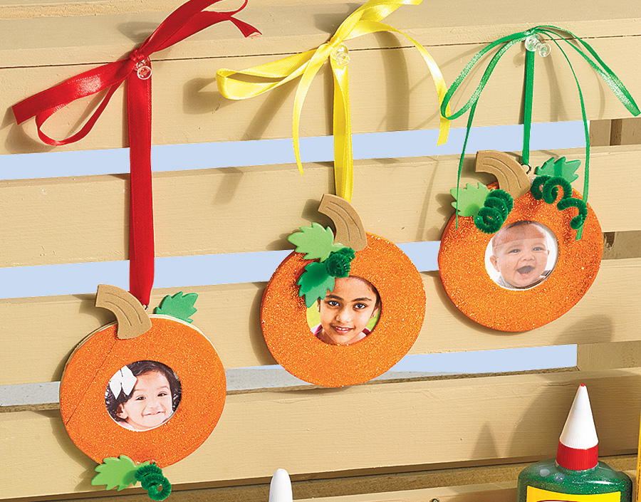 Sparkly Pumpkin Photo Frame Ornaments