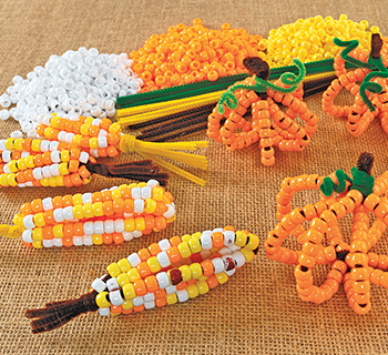 Pony Bead Corn & Pumpkins