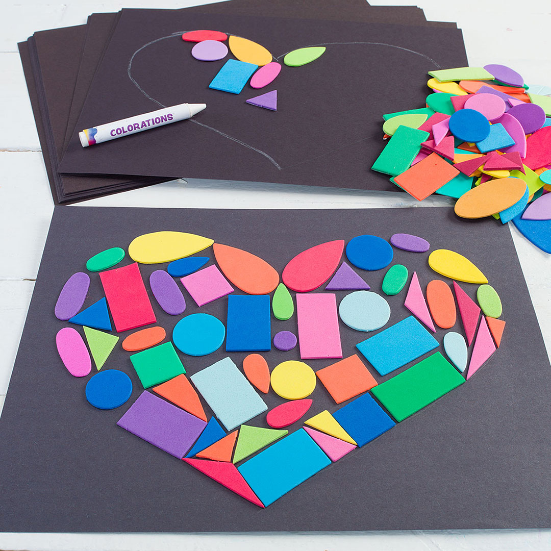 Colorful Foam Shape Heart Collage