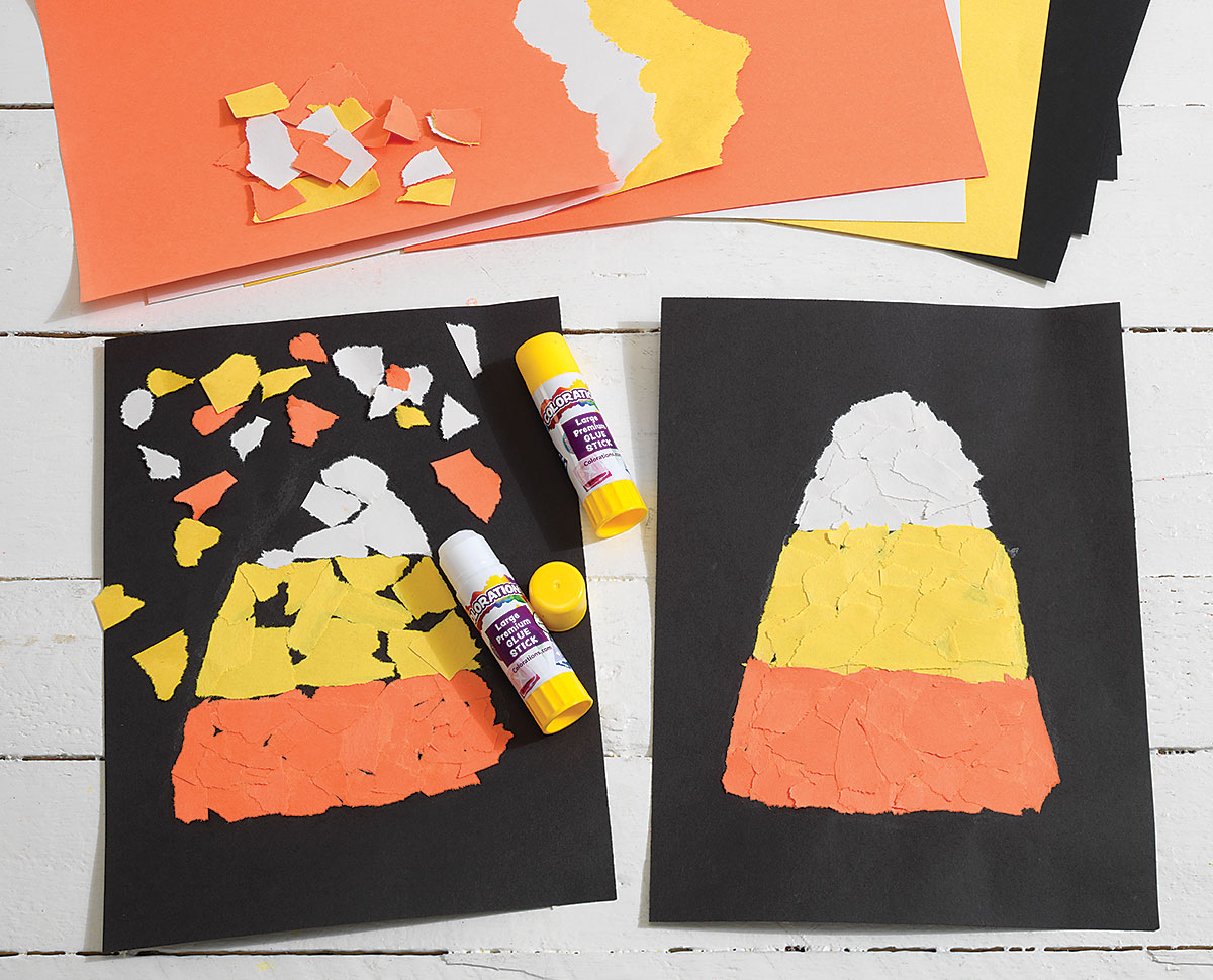 Torn Paper Candy Corn Creative Craft Activity
