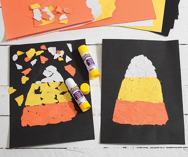 Torn Paper Candy Corn Creative Craft Activity