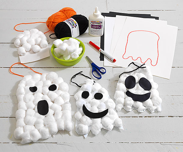 Cotton Ghosts Creative Craft Activity for Halloween