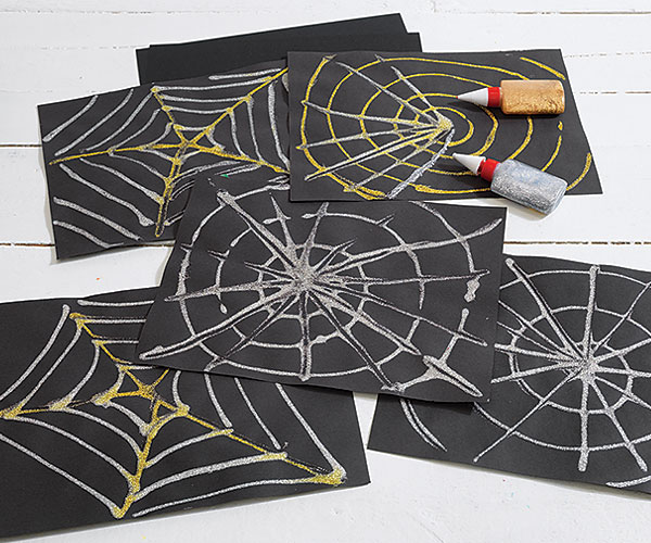 Shimmering Spider Webs Creative Craft Activity for Halloween