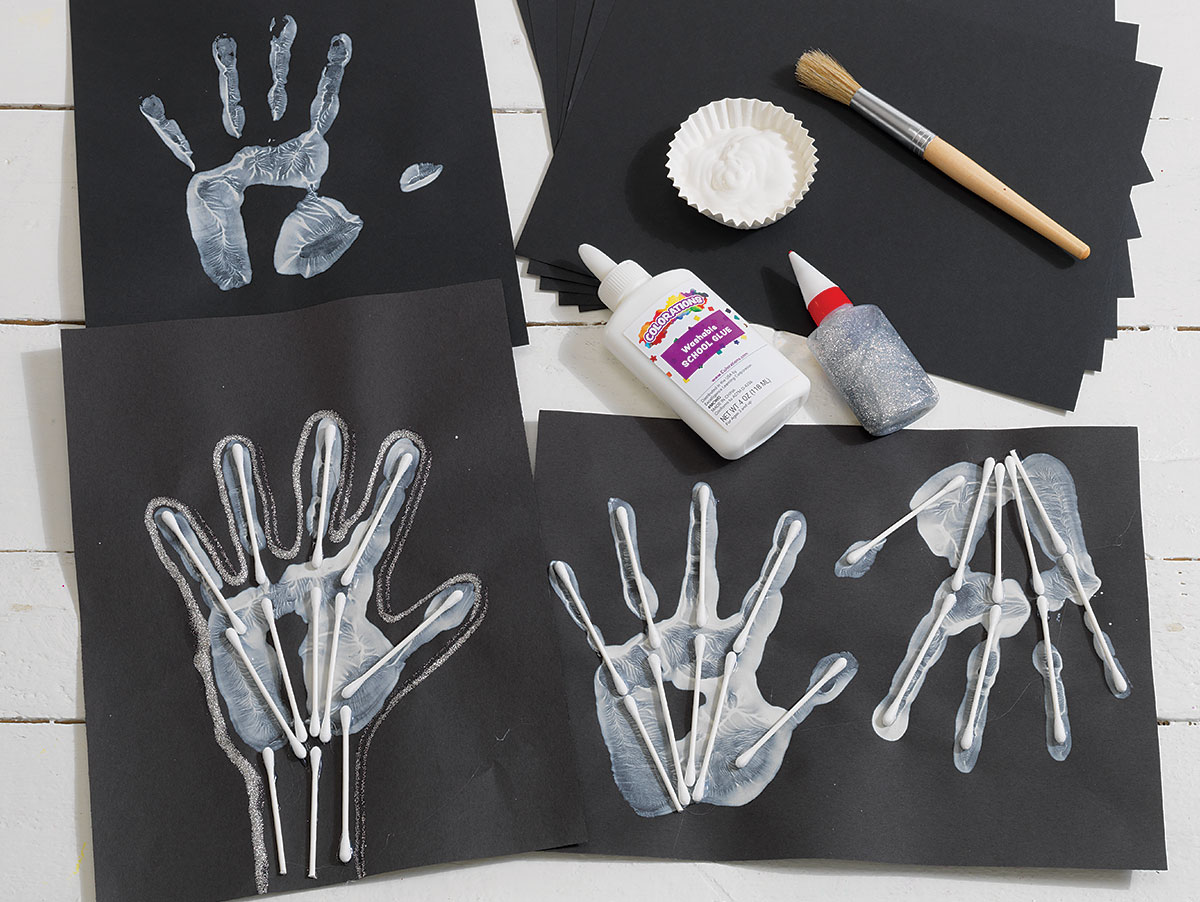 Skeleton Handprints Creative Craft Activity for Halloween