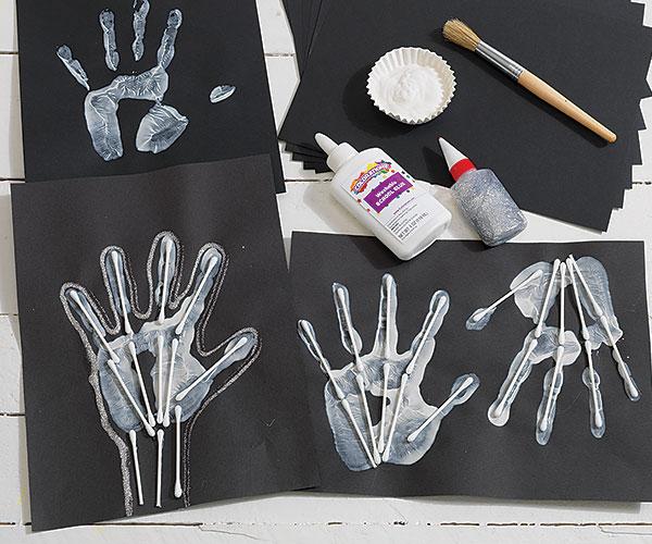 Skeleton Handprints Creative Craft Activity for Halloween