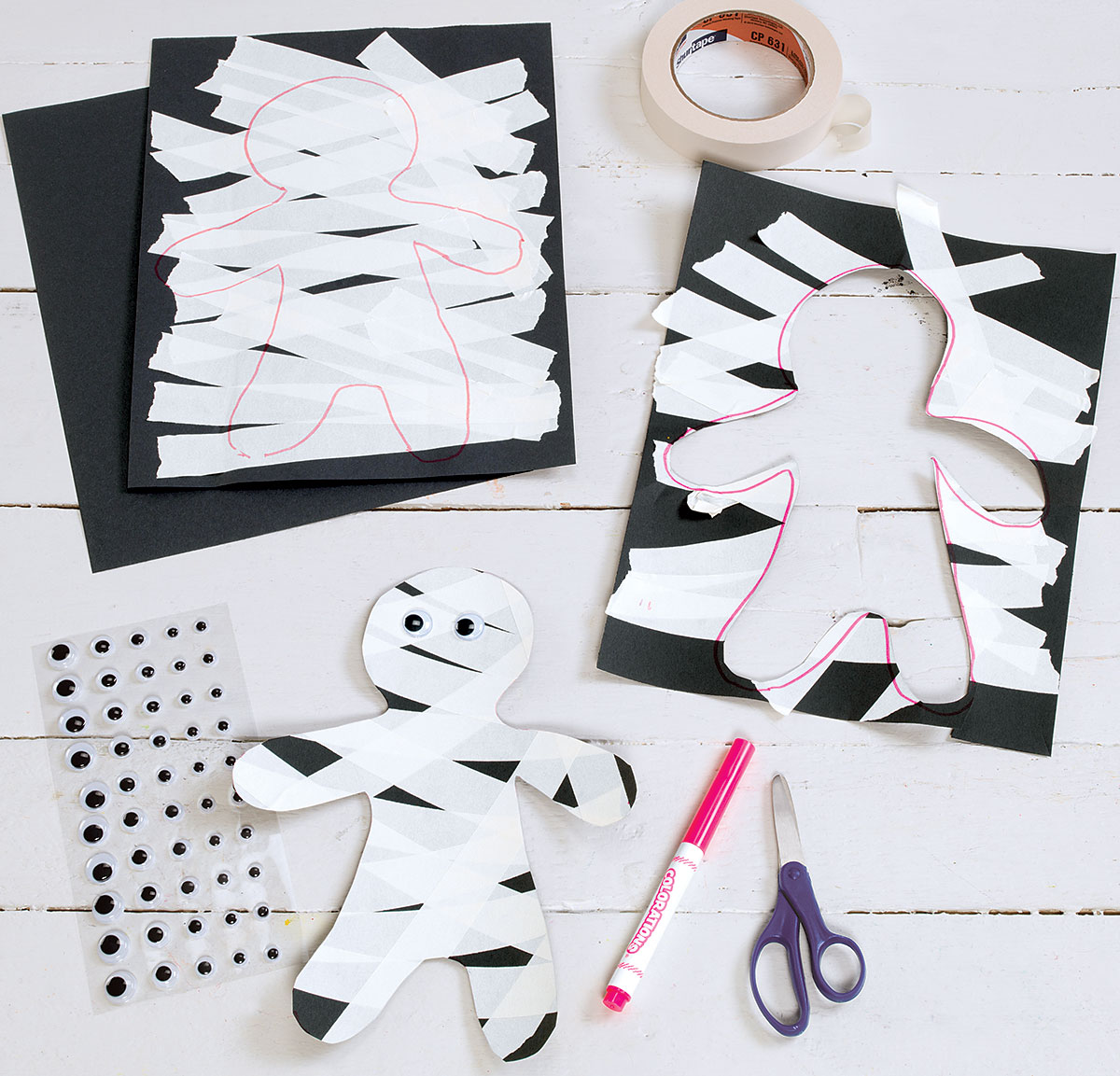 Tape Mummies Creative Craft Activity for Halloween