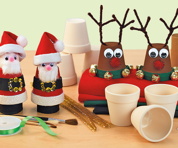 Santas and Reindeer Christmas Holiday Winter Creative Craft Activity