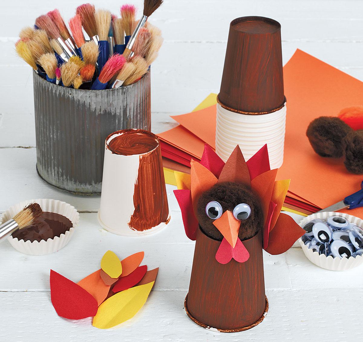 Thanksgiving Creative Craft Activity Paper Cup Turkeys
