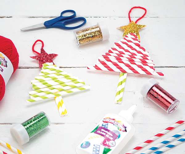 Peppermint Straw Tree Ornament Creative Craft Activity for the Holidays