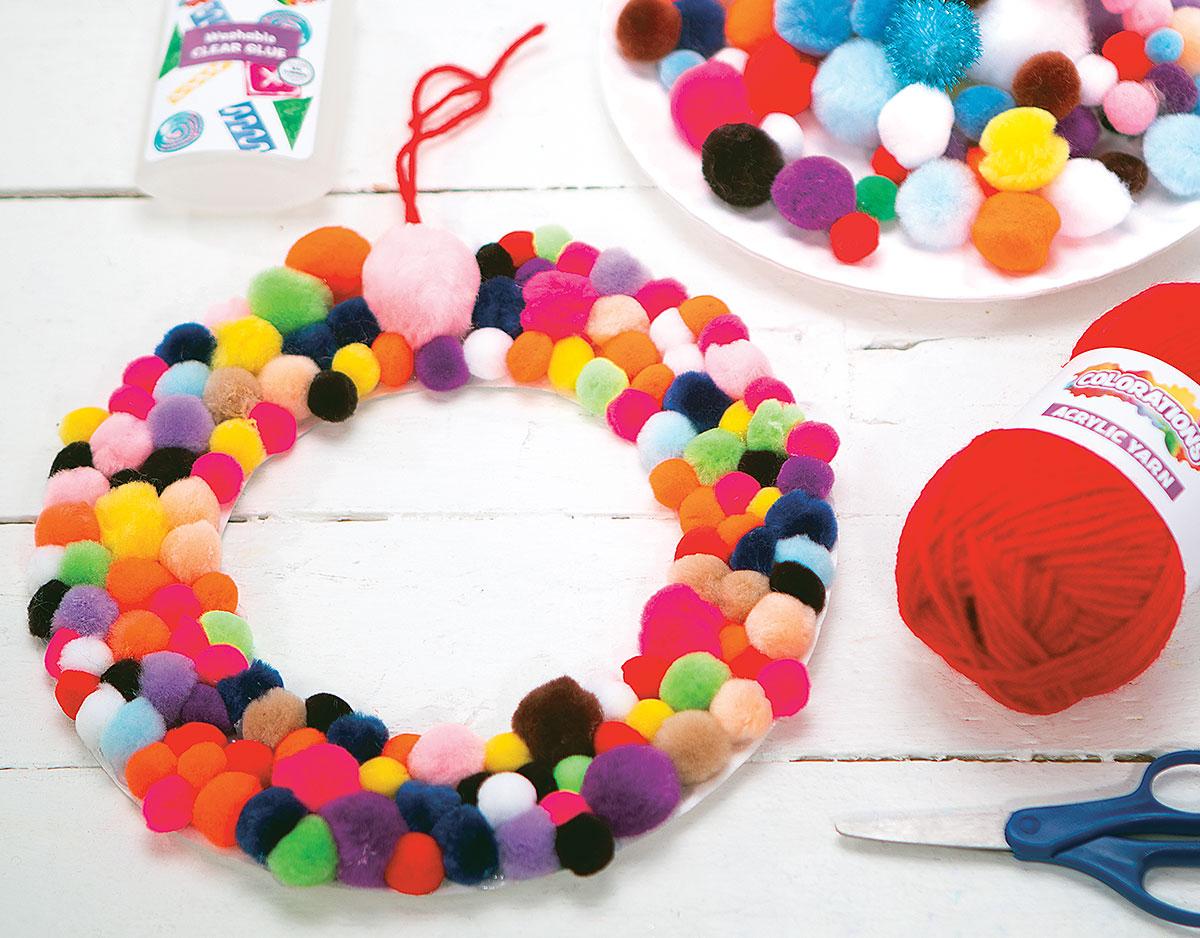 Pom Pom Wreath Creative Craft Activity for the Holidays